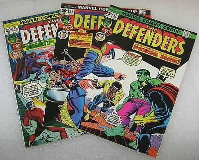 The Defenders #15 #16 #17 vintage Marvel Comic Book Lot