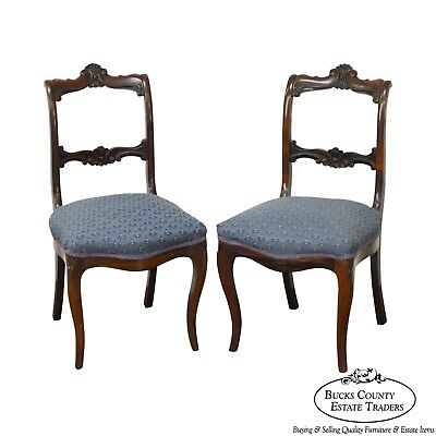 Antique 19th Century Rococo Revival Pair of Rosewood Side Chairs