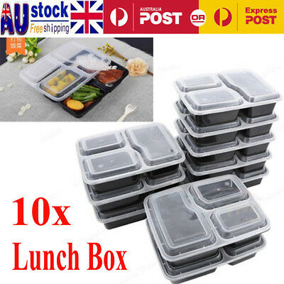 10pcs Reusable Microwavable 3 Compartment Lunch Box Bento Food Storage Container