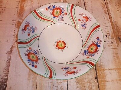 Vintage Porcelain Dish Bowl Retro White with Red Gr Stripes Flowers Made Japan