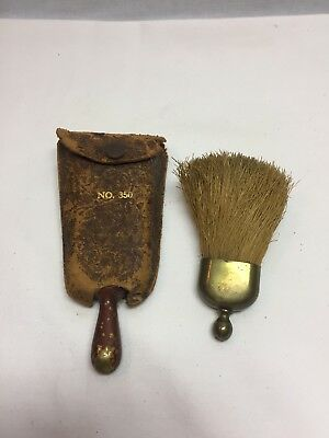 (2)Vintage Miniature Whisk Broom with nickle plated handle / Leather Case