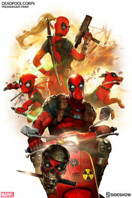 Sideshow Collectibles Exclusive DEADPOOL CORPS Premium 18x24 Art Print FRAMED!