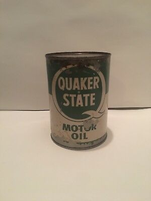Vintage Quaker State Motor Engine Oil Can 30 W