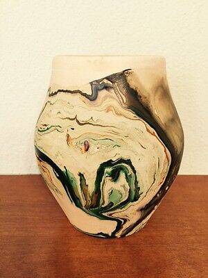 "Nemadji Pottery Vase Brown Tones/Green/Orange Swirls 5"" Tall"