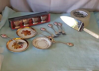 Vintage Stainless Steel Cake Cutlery, Cake Server, Ss Egg Cups & German Plates +