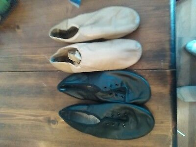 two pair Split Sole Jazz Shoes Leather Dance black tan used
