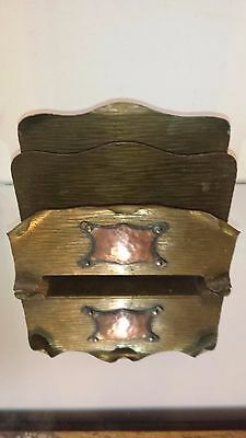 Antique / Vintage LETTER MAIL HOLDER Hammered COPPER EMBLEM OVER BRASS