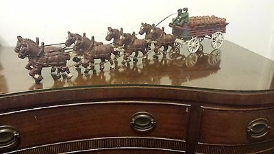 Cast Iron 8 Clydesdale Horse Beer Wagon Carriage 22 Kegs Barrels 2 Metal Drivers