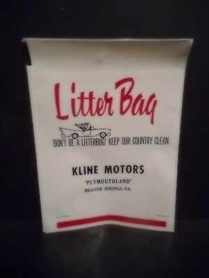 Chrysler Plymouth Dealer - Kline Motors - You Get 10 New Plastic Litter Bags!