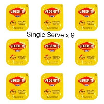 Vegemite Single Serve Portions x9 | Australian Spread Snack | Travel Size Sachet