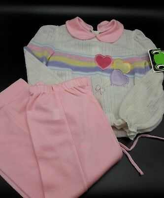 Vintage baby girl toddler outfit hearts top bottom