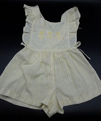 Vintage baby girl toddler romper sunsuit ruffle yellow tulip