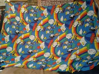 1966 peanuts gang flat bed sheet bedding snoopy charlie brown 1971 pillow case