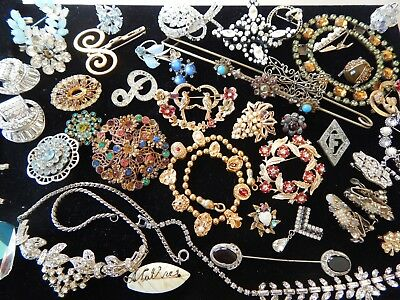 Vintage Antique Glass Rhinestone Craft Repair Brooch Necklace Coro Jewelry Lot