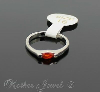 Dainty Red Orange Mini Oval Cz Silver Sp Ladies Girls Cocktail Ring Size 5 Sml