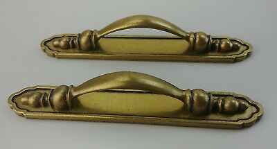 Set of 2 Vintage Solid Brass Drawer Door Pull with Backplate