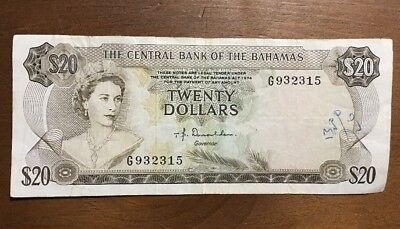 The Central Bank Of The Bahamas 1974 20$ Bill Circulated Ungraded