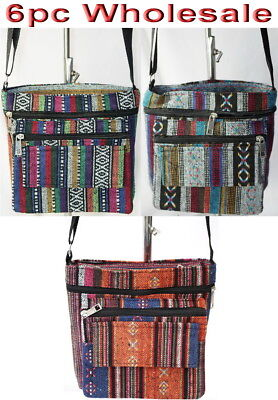 6pc Wholesale Long Canvas Multi-pockets Crossbody Bag Women Girl Handbag mixed