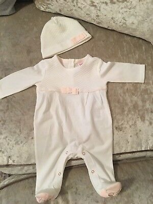 Baby girls newborn tedbaker all in one suit with matching hat