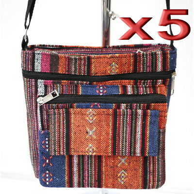 5pc Wholesale Long Canvas Multi-pockets Crossbody Bag Women Lady Girl Handbag