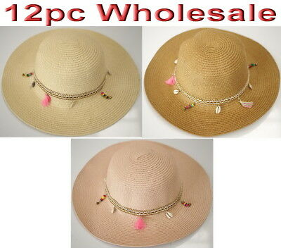12pc Wholesale Women Lady Summer Beach Sun Hat Wide Brim Mixed