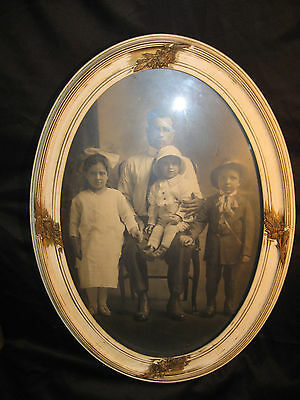 Vintage Oval Gesso Wood Picture Frame With Old Photo