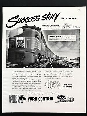 1948 Vintage Print Ad NEW YORK CENTRAL Train Pacemaker Illustration Railroad