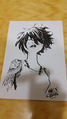 Stunning Deadly Class Original Saya Sketch by Wes Craig Signed