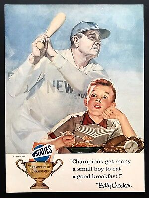 1956 Vintage Print Ad WHEATIES Cereal Babe Ruth Baseball Illustration Art 50's