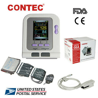 FDA&CE CONTEC08A Digital Upper Arm Blood Pressure Monitor 4 BP Cuffs+SPO2+USB SW
