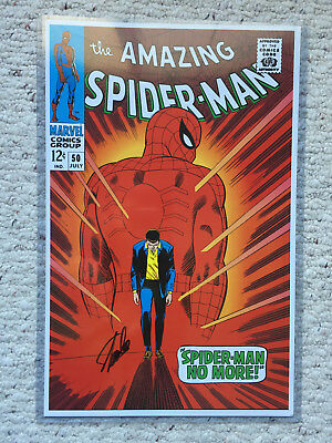 Amazing Spiderman #50 - Print 11x17 1967 Marvel Comic Print - Signed by STAN LEE