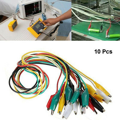 10 Pcs Double-ended Alligator Clips Cable Electrical DIY Jumper Testing Wire