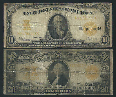$20 & $10 Gold Certificate   <<< Affordable >>> Beginner's Notes