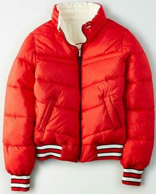 ab7f0b544 NWT AMERICAN EAGLE Women's Reversible Puffer Bomber Jacket Coat Red ...