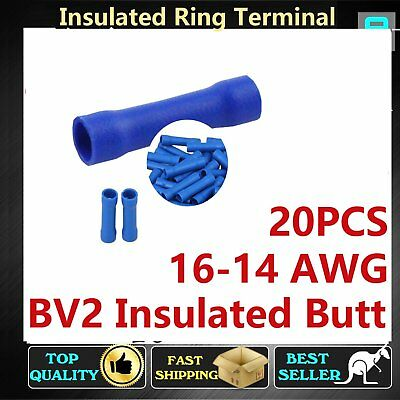 20pcs Insulated BV Blue Butt Splices Terminals Connectors Wire Crimp 16-14 AWG