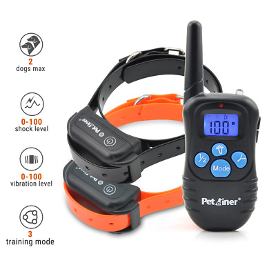 Petrainer Dog Training Shock Collar with Remote Electric Rechargeable 2 Collars