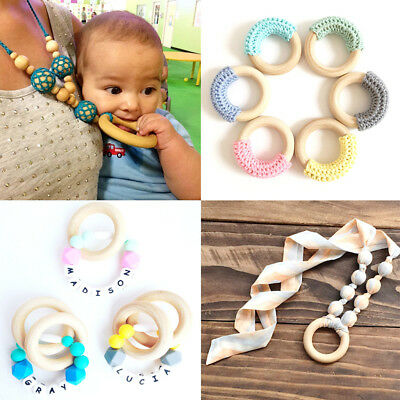 55mm Baby Wooden Teething Rings Necklace Bracelet DIY Crafts Natural