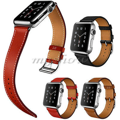Genuine Leather Double Cuff Single Tour Buckle For Apple Watch iWatch Strap