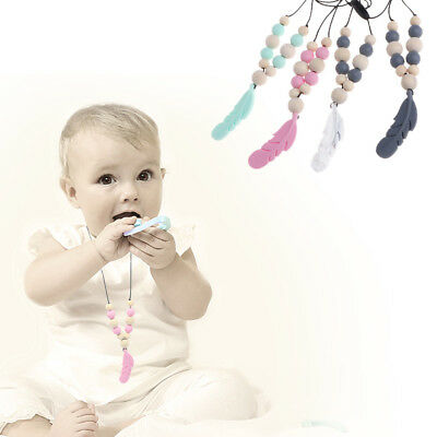 1x Baby Silicone Teether Chain Charm Feather Beads Necklace Teething Toy Jewelry