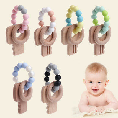 New Teething Natural Silicone Wood Bracelet Baby Newborn Kids Wooden Teether Toy
