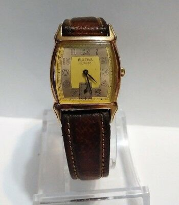 Bulova Gold Tone Art Deco Style Quartz Watch W/ Sub Dial Seconds Hand 0181