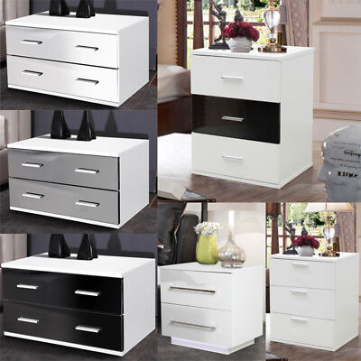 High Gloss/Matt Bedroom Bedside Table Chest Drawers Cupboard Cabinet LED Lights