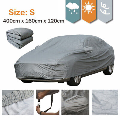 2 Layer Heavy Duty Waterproof Car Cover Cotton Lining with Buckle Lock Size S UK