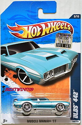 Hot Wheels 2011 Muscle Mania Olds 442 #9/10 Blue Factory Sealed W+