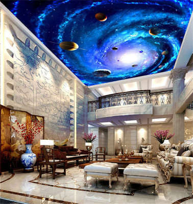 Mobile Intact Space 3D Ceiling Mural Full Wall Photo Wallpaper Print Home Decor