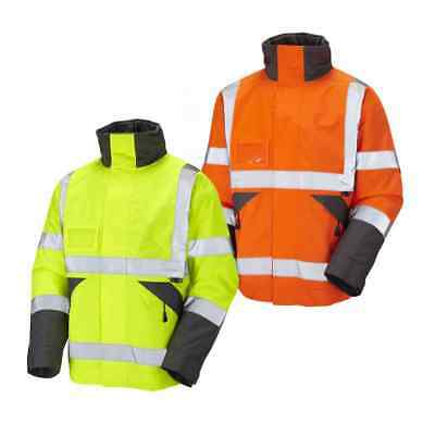 Leo Workwear S02 Bickington Mens Hi Vis Bomber Jacket Waterproof Reflective Tape