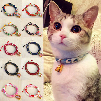 Necklace Collars Elastic Anti-strangulation For Pet Cat With Bell Japanese Style