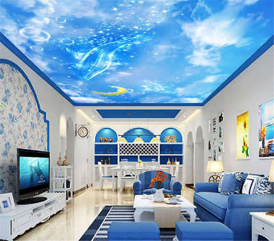Azure Modest Sky 3D Ceiling Mural Full Wall Photo Wallpaper Print Home Decor