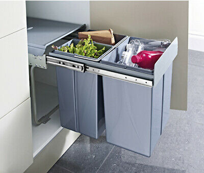 Hafele Tek 40L Pull Out Soft Close Three Recycling Waste Bin For 400mm Unit