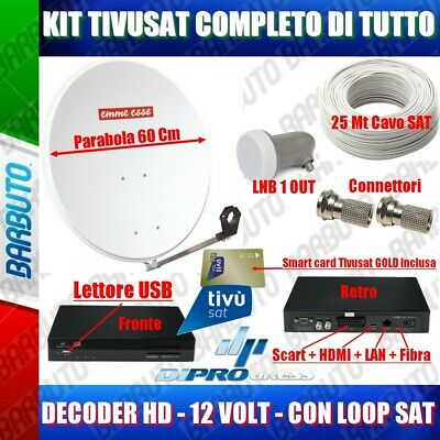 Kit Pronto Tv Satellitare,Parabola 60,Lnb+ Decoder Tivusat Hd + Cavo E Connetori